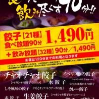 【本日4/30まで】全21種類の餃子食べ放題、浪花ひとくち餃子餃々錦糸町店。
