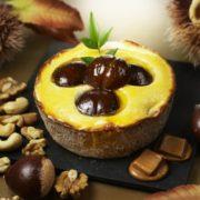 パブロ、秋限定ミニタルト「マロン×マロン」を発売。ビターキャラメルソースをかけた贅沢な味わい。