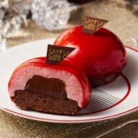 ローソン、ひとり用サイズXmasケーキ発売。フランス産チョコを使用し赤と白の2種を用意。