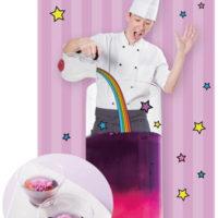 色が変わる不思議な紅茶、「ヤバいぞ!グルメ祭」にマロウブルーを使用した手品のようなデザートが登場。