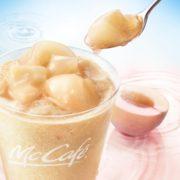 """マックカフェに""""桃増し""""が出来る「桃のスムージー」が登場。ピューレと果肉の桃づくし贅沢デザート。"""