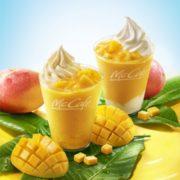 マックカフェに「とろっとプリンマンゴースムージー」などマンゴー尽くしの贅沢なスムージー2品登場。