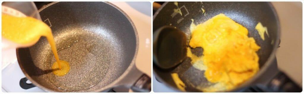 豚肉とほうれん草のふわ卵炒めの工程写真2