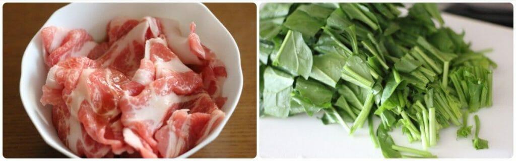 豚肉とほうれん草のふわ卵炒めの工程写真1