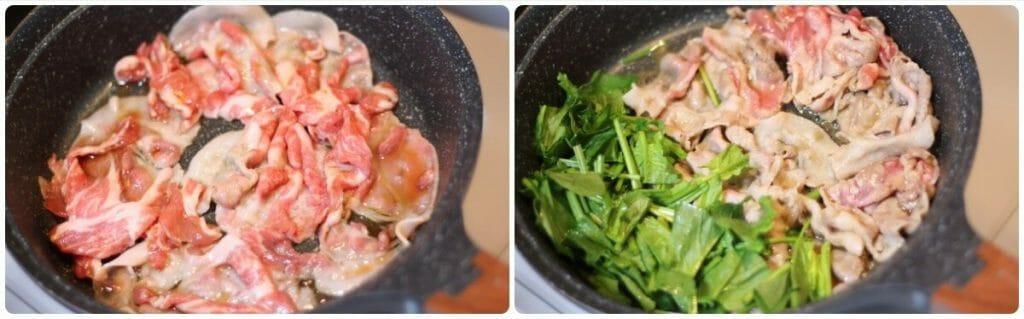 豚肉とほうれん草のふわ卵炒めの工程写真3
